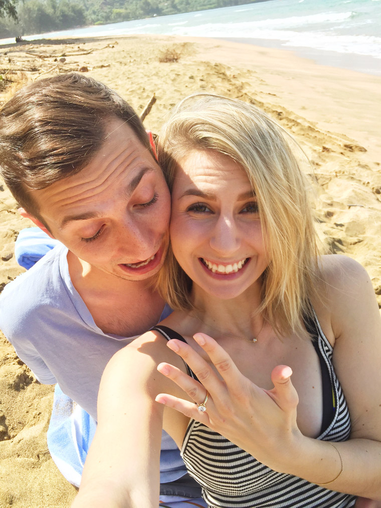 after saying yes to a proposal and showing diamond ring in kauai hawaii