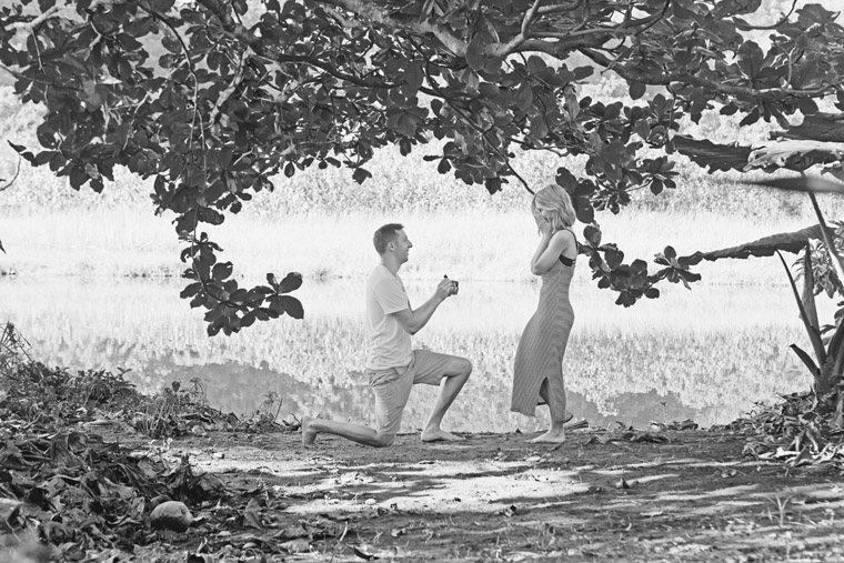 Jacob proposing down on one knee in kauai hawaii near hanalei bay