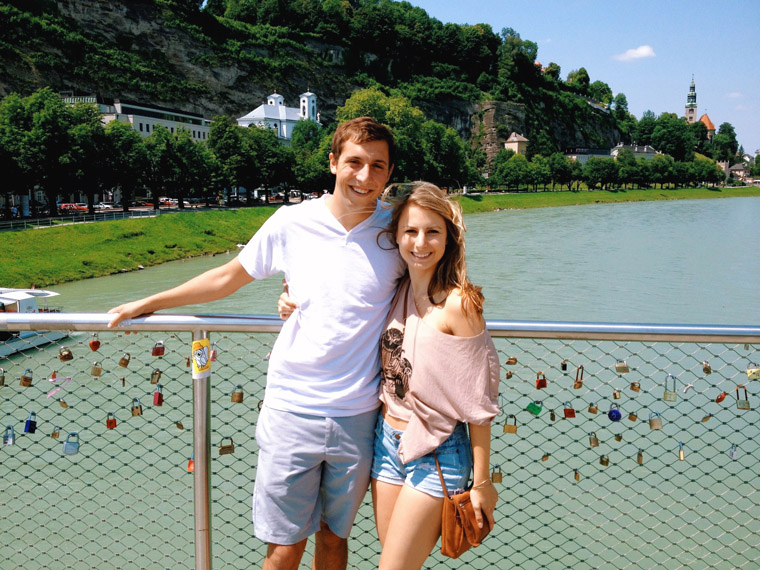 In front of the love lock bridge in salzburg austria