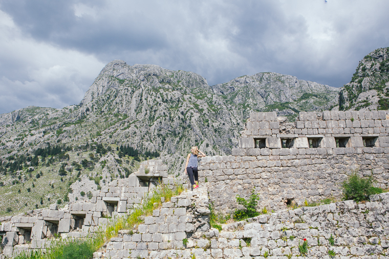 On old castle walls mountain montenegro kotor bay