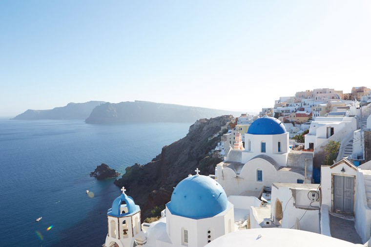 Blue domes in oia santorini greek islands a top 2016 travel destination
