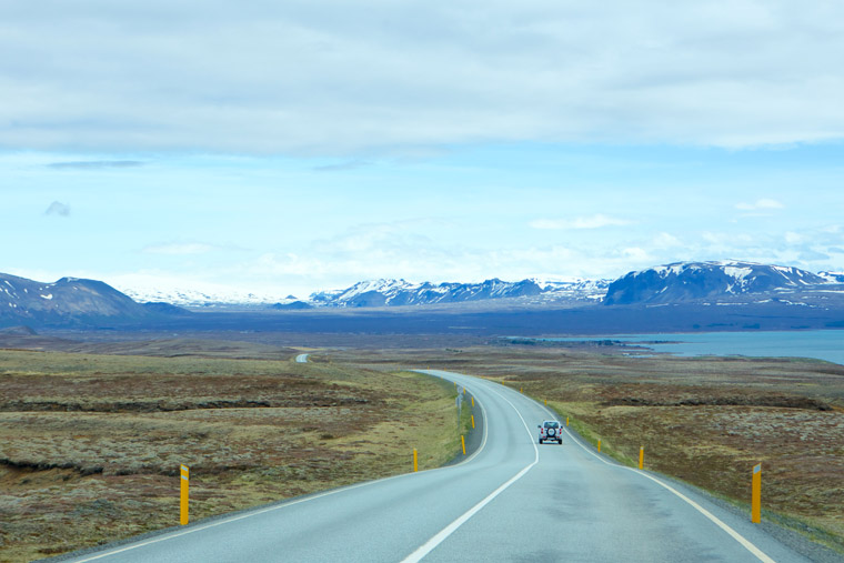 Driving during our road trip on the ring road in iceland