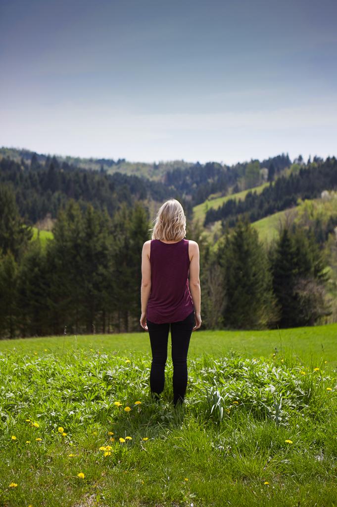 Rolling green hills near predjama castle slovenia