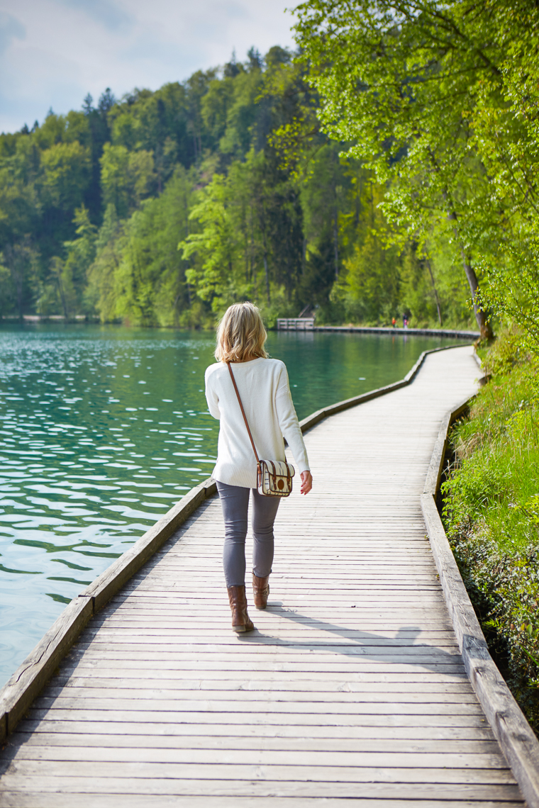 Walking Bled Lake on water in Slovenia