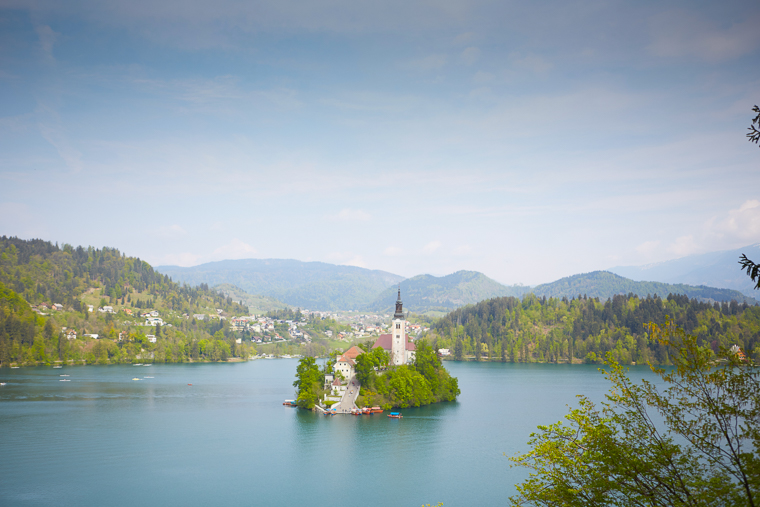 view of bled cathedral at Lake Bled Slovenia