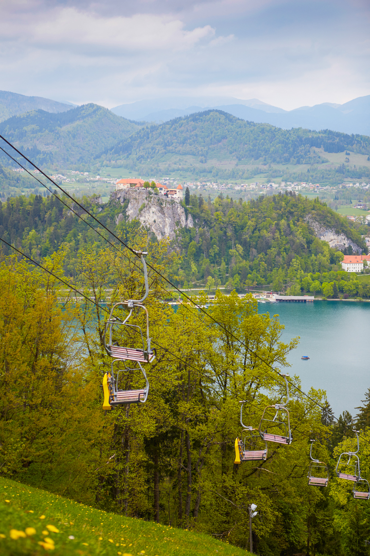 Gondola with view of lake bled slovenia