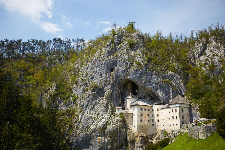 Medieval Predjama Castle in Postjama Slovenia