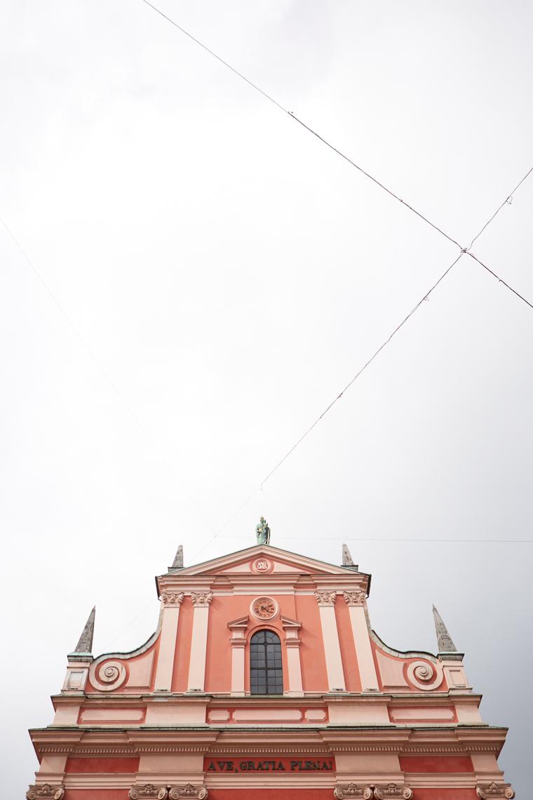 Pink building in Ljubljana's Town Center