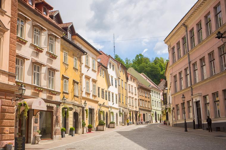 Pastel buildings square downtown ljubljana slovenia