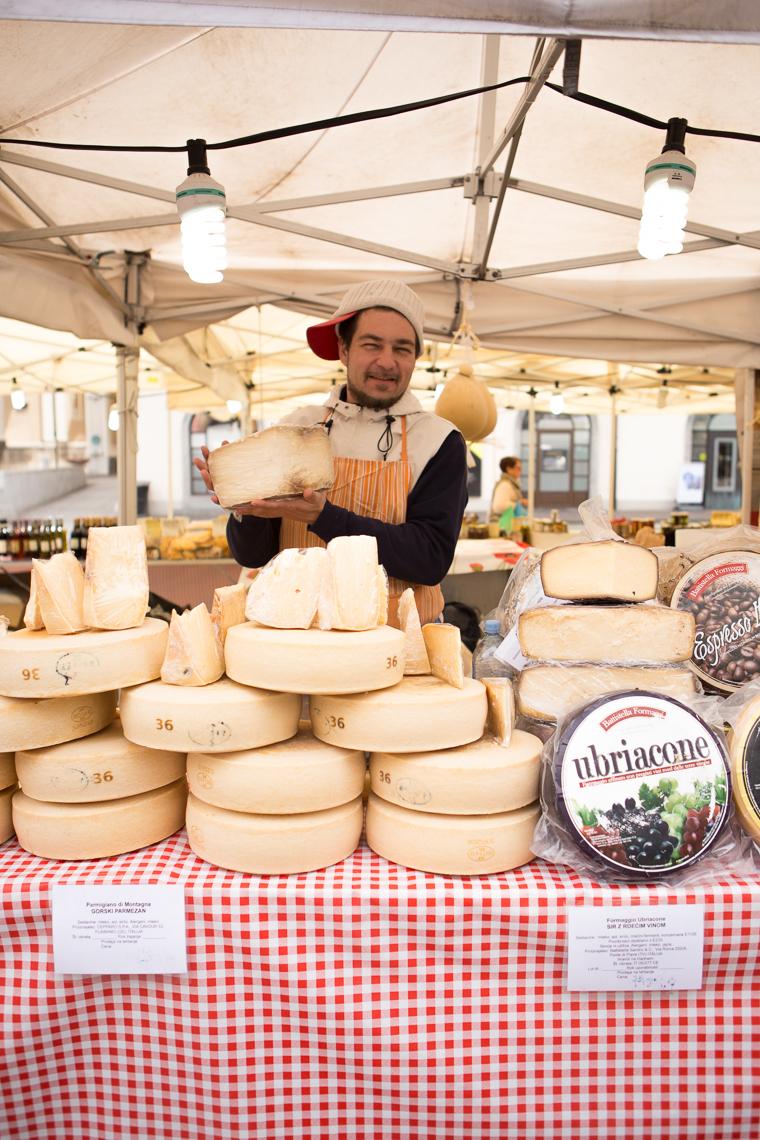 Italian Cheese at the Outdoor Market in Ljubljana