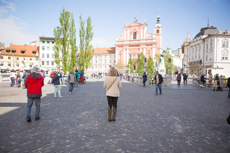 Three Bridges in Downtown Ljubljana Slovenia