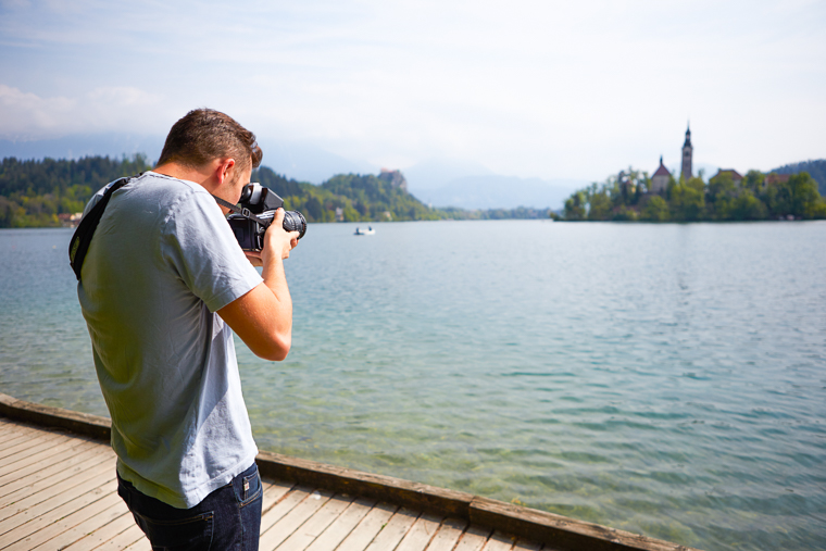Photographing Bled Church on the Lake in Slovenia