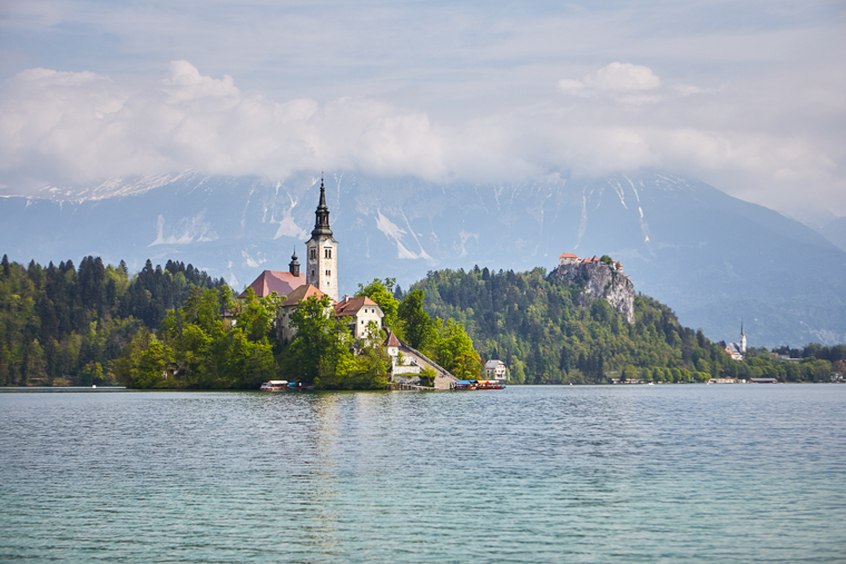 view of bled cathedral and bled castle at Lake Bled Slovenia