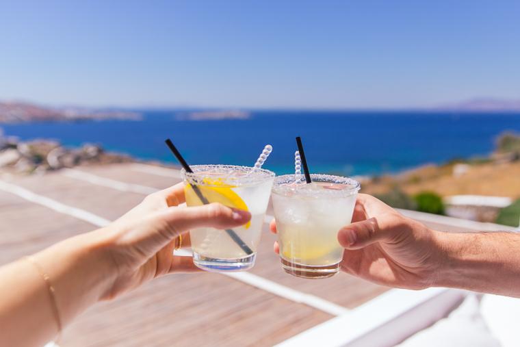 fresh lemonade on balcony hotel mykonos