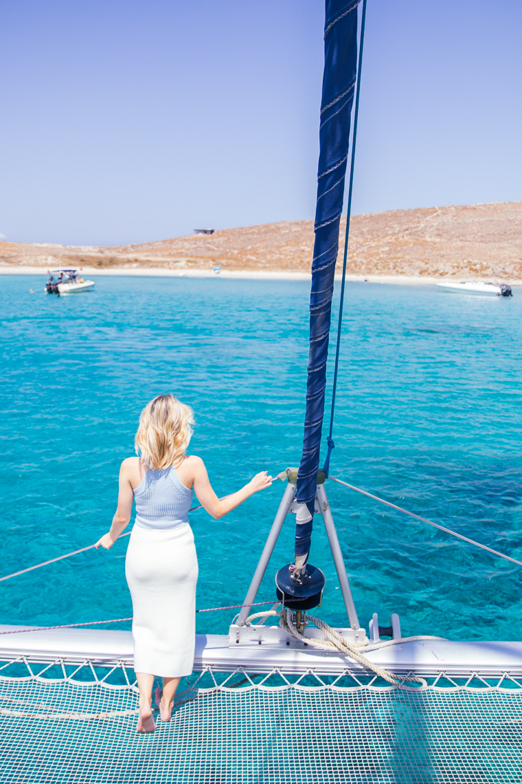 view from our boat on another island near mykonos greece