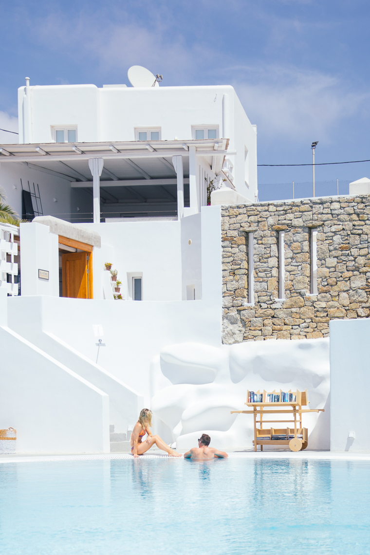 Hanging by the pool at Boheme Hotel Mykonos Greece