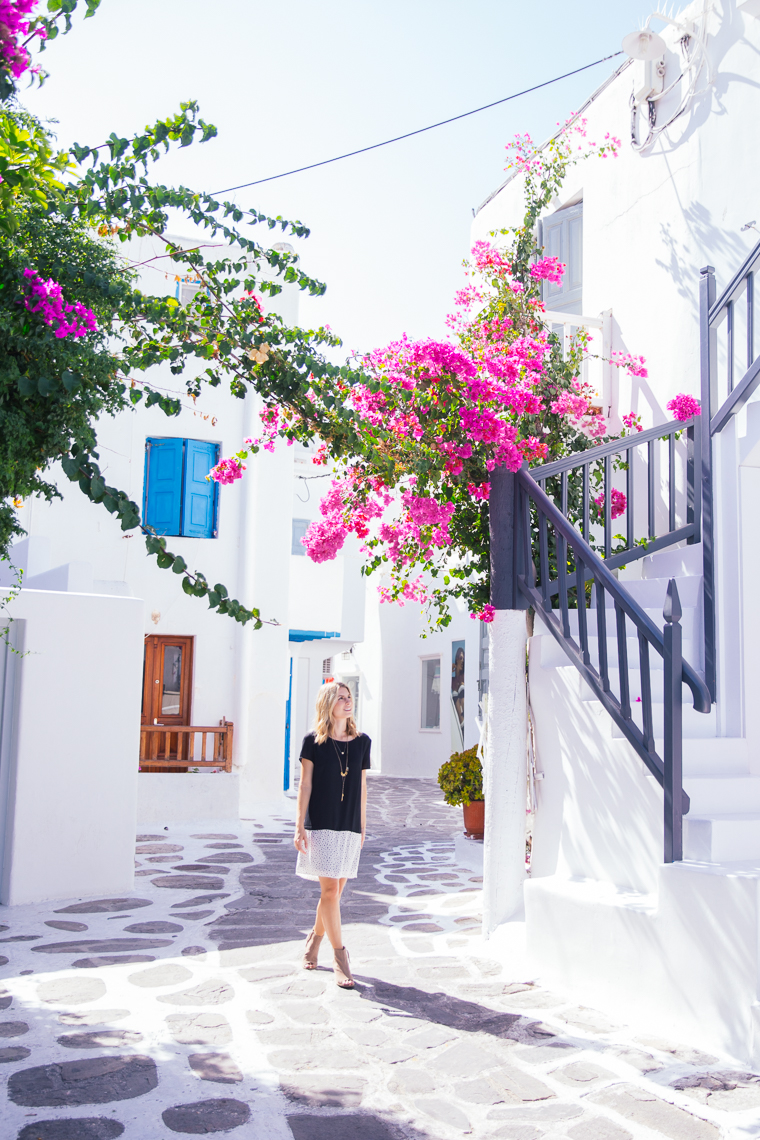 Streets with flowers in mykonos town greece