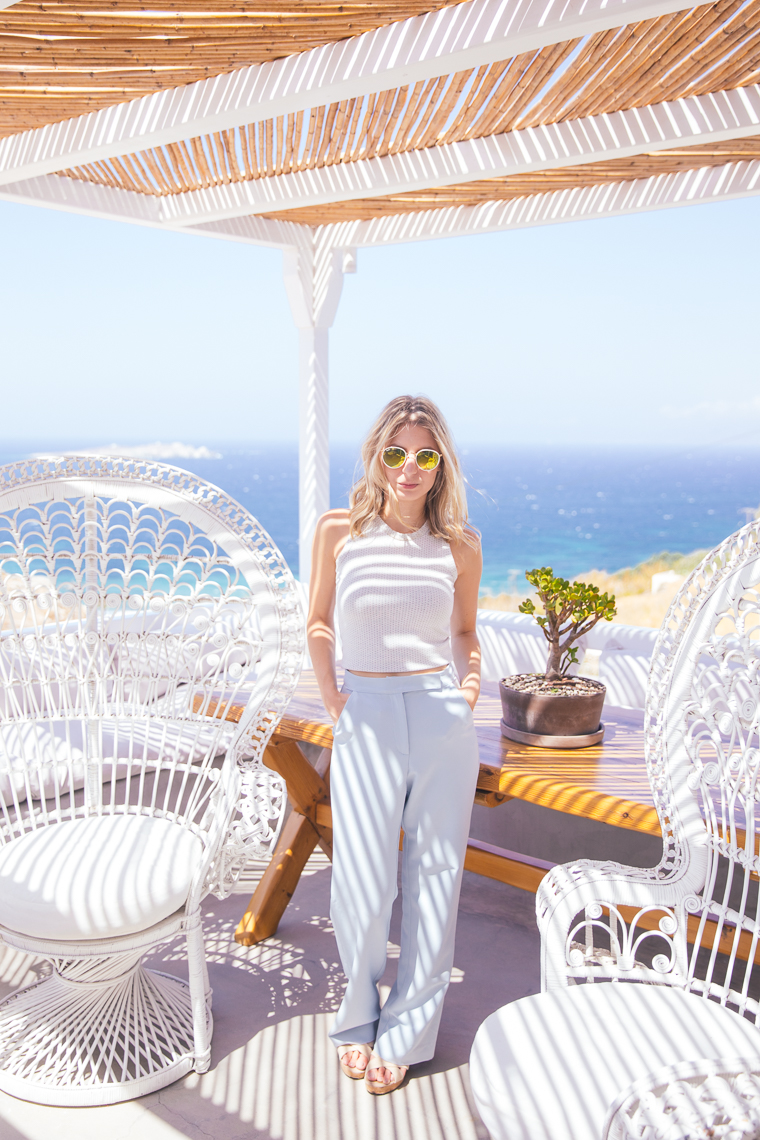 blue and white attire at hotel boheme mykonos