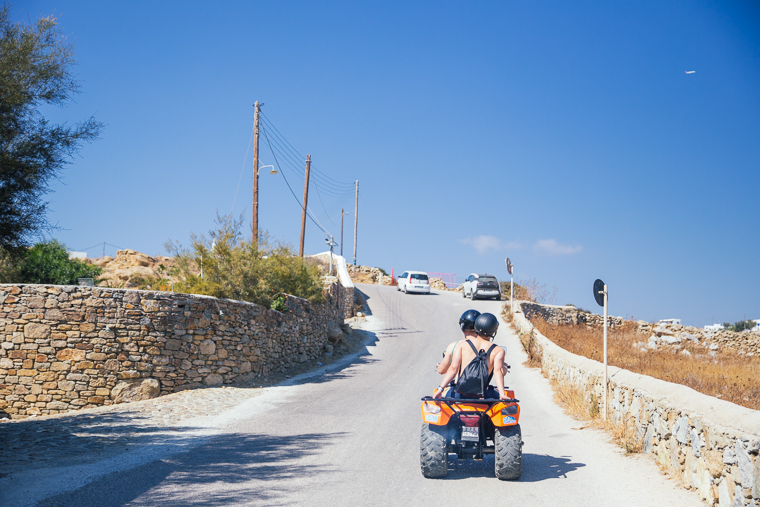 riding atv around the island mykonos greece