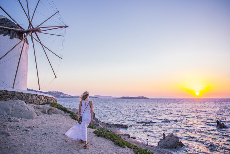 watching the sunset from mykonos five windmills