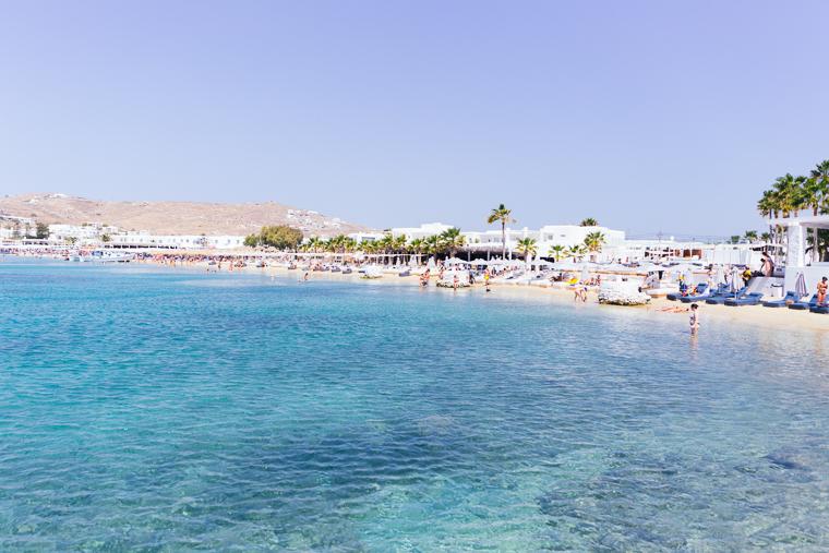 Blue water at ornos beach south side mykonos