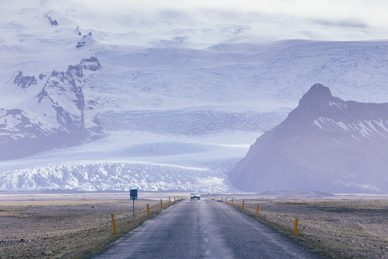 View of the Vatnajökull glacier from Ring Road Iceland via finduslost