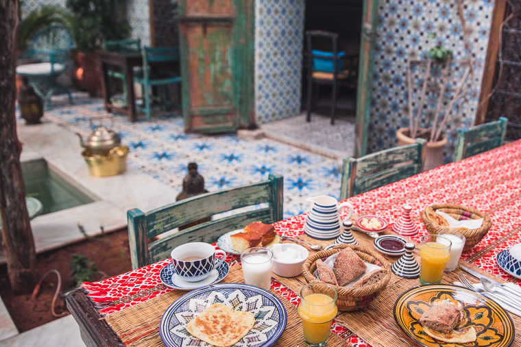 Breakfast in our riad in marrakesh morocco via finduslost