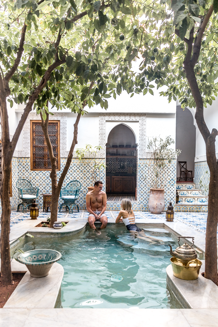 Riad Yamina pool in Marrakesh Morocco via Finduslost