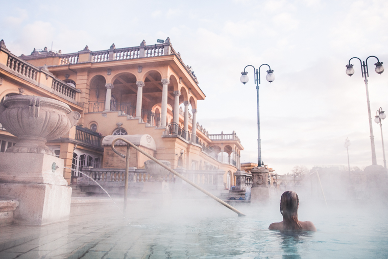Bathing at the outdoor thermal baths at Szechenyi bathhouse budapest hungary