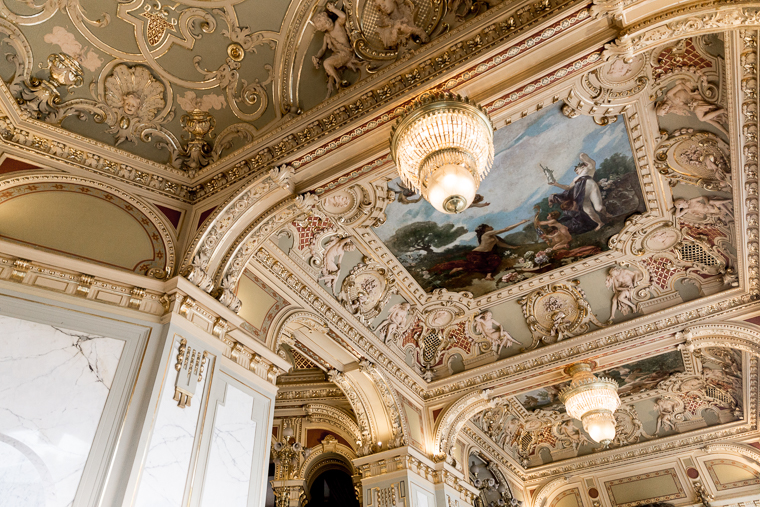 The beautiful ceiling at New York Cafe budapest hungary