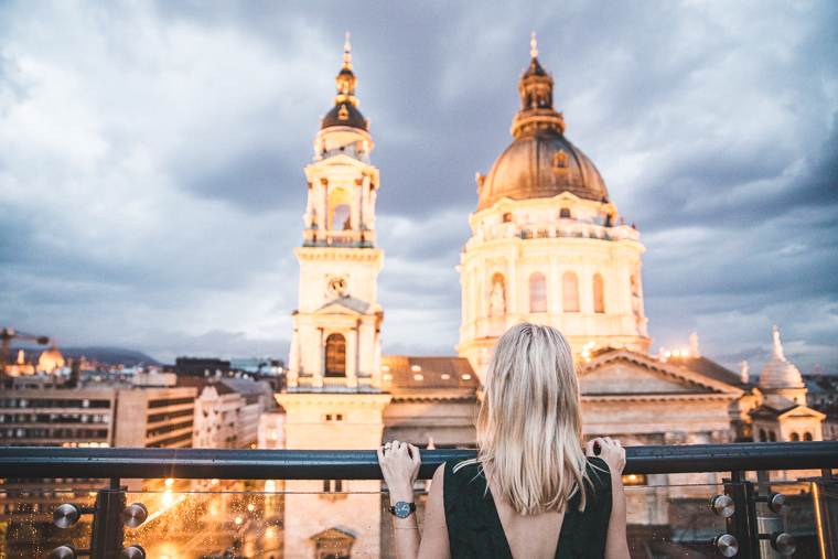 Rooftop view of st stephen's basilica from the Aria Hotel Budapest Hungary