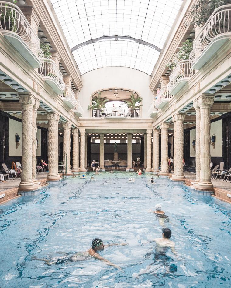 The indoor pool at Gellert Baths Budapest Hungary
