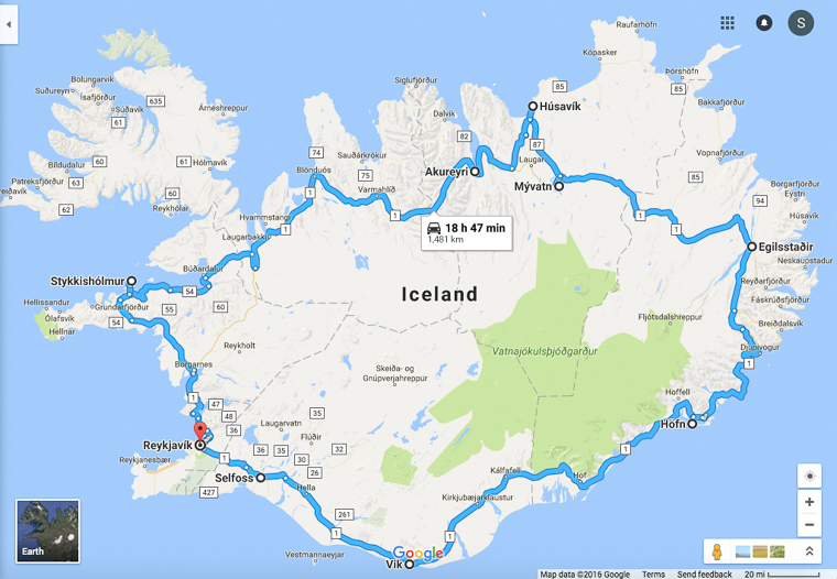 Iceland driving route of ring road in 10 Days