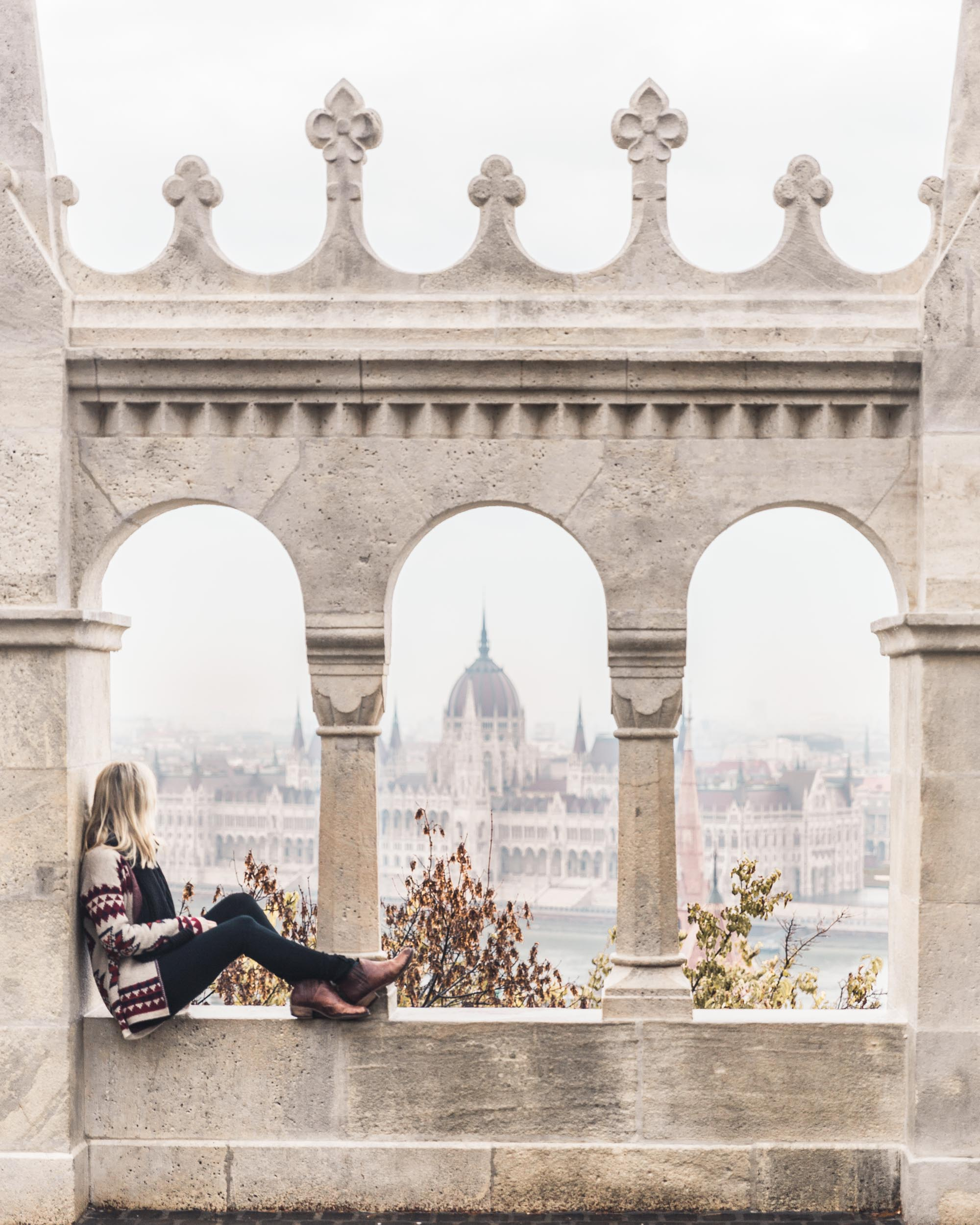 Fisherman's bastion overlooking the parliament building in Budapest, Hungary