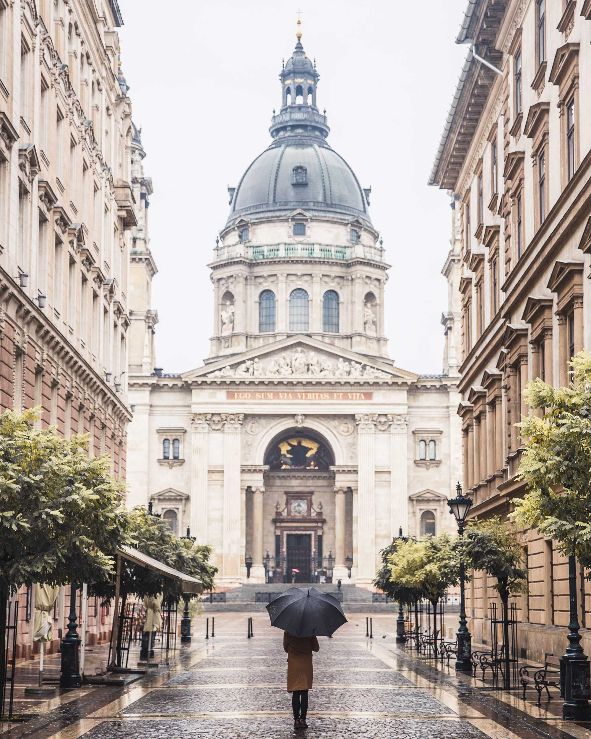 St Stephen's Basilica in the rain budapest hungary