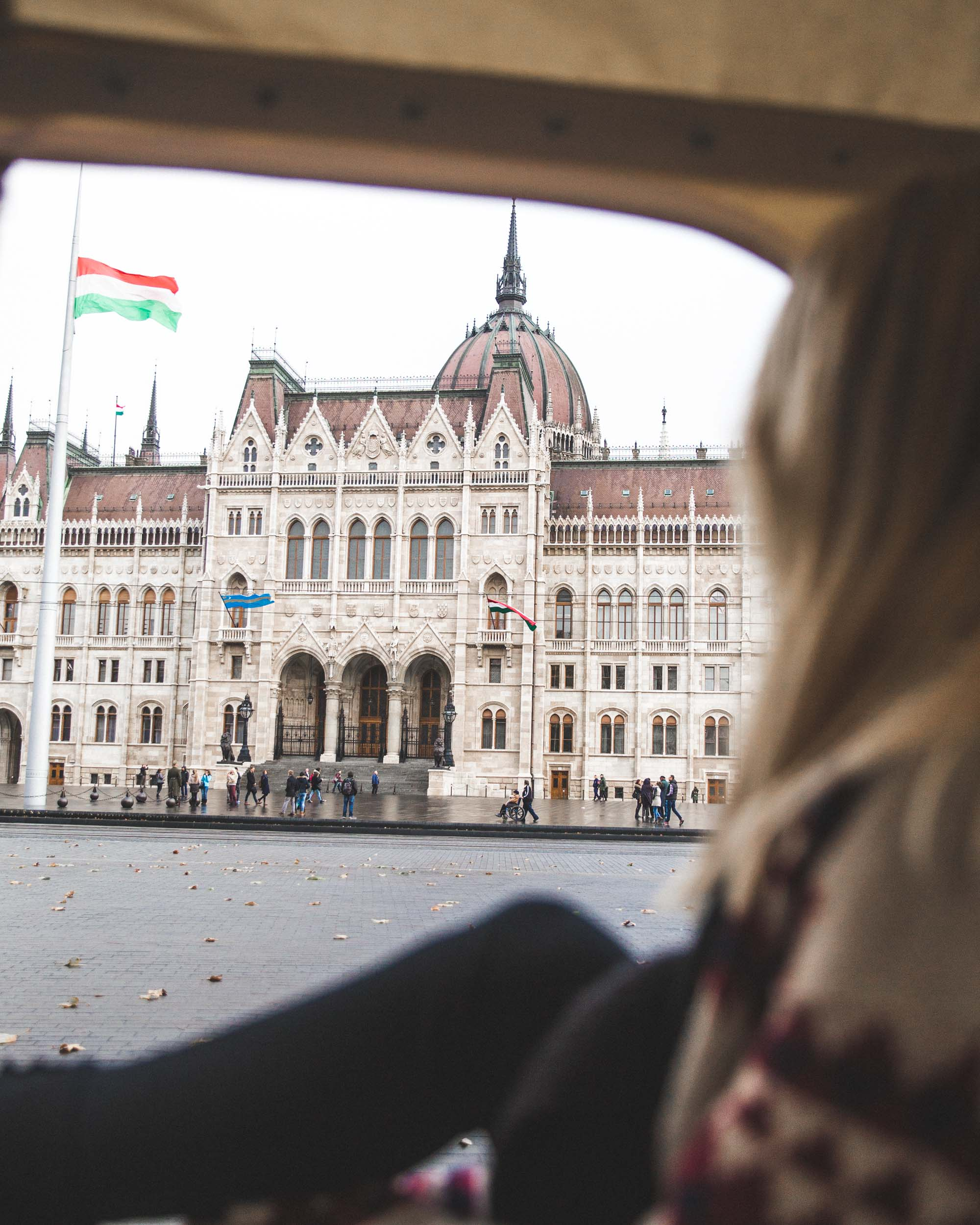 View of the parliament building from Budapest Tuk Tuk
