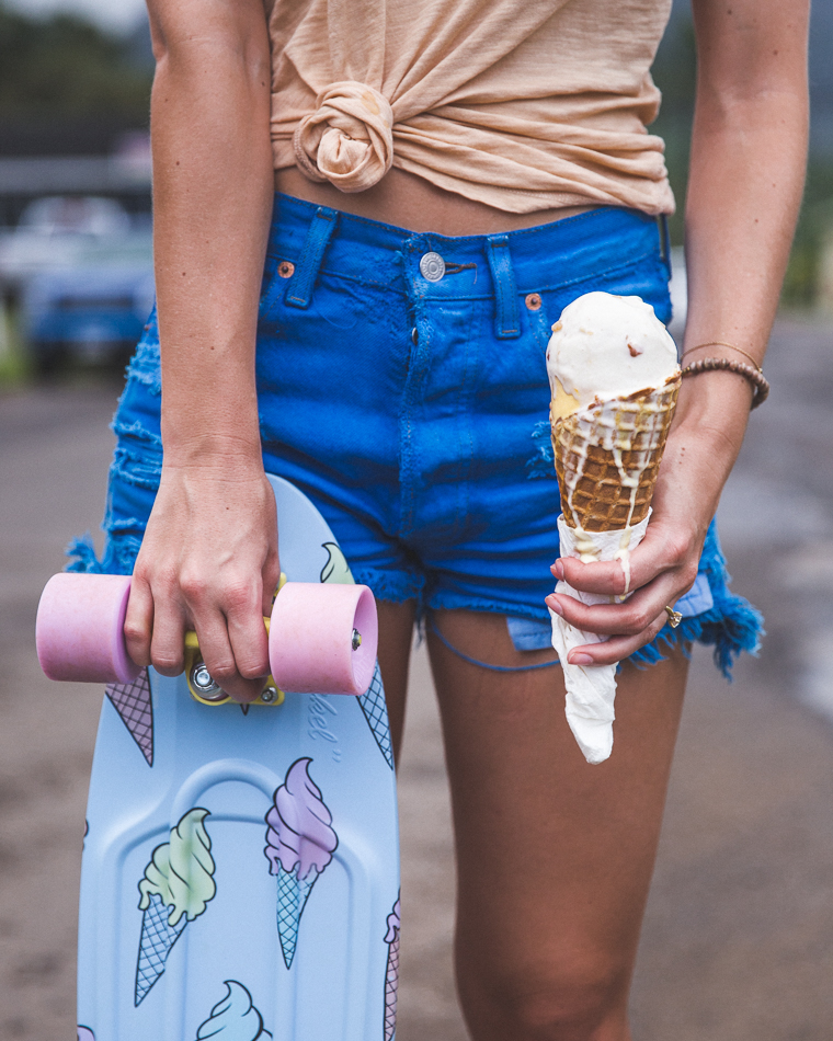 Pink's Ice Cream and Penny Skateboards in Hanalei Bay Kauai