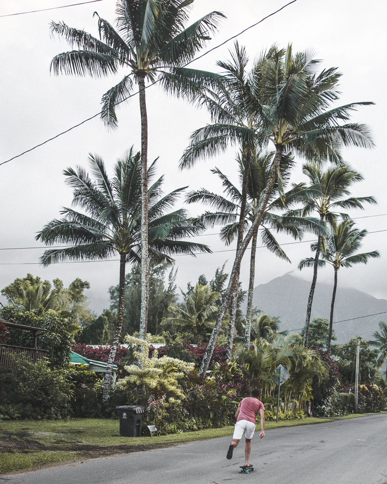 Exploring the small neighborhood streets of Hanalei Bay