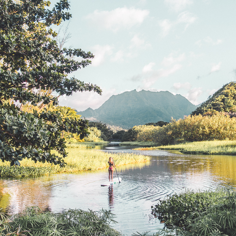 Stand Up Paddle Boarding in Hanalei on the North Shore- Kauai Travel Guide via Find Us Lost