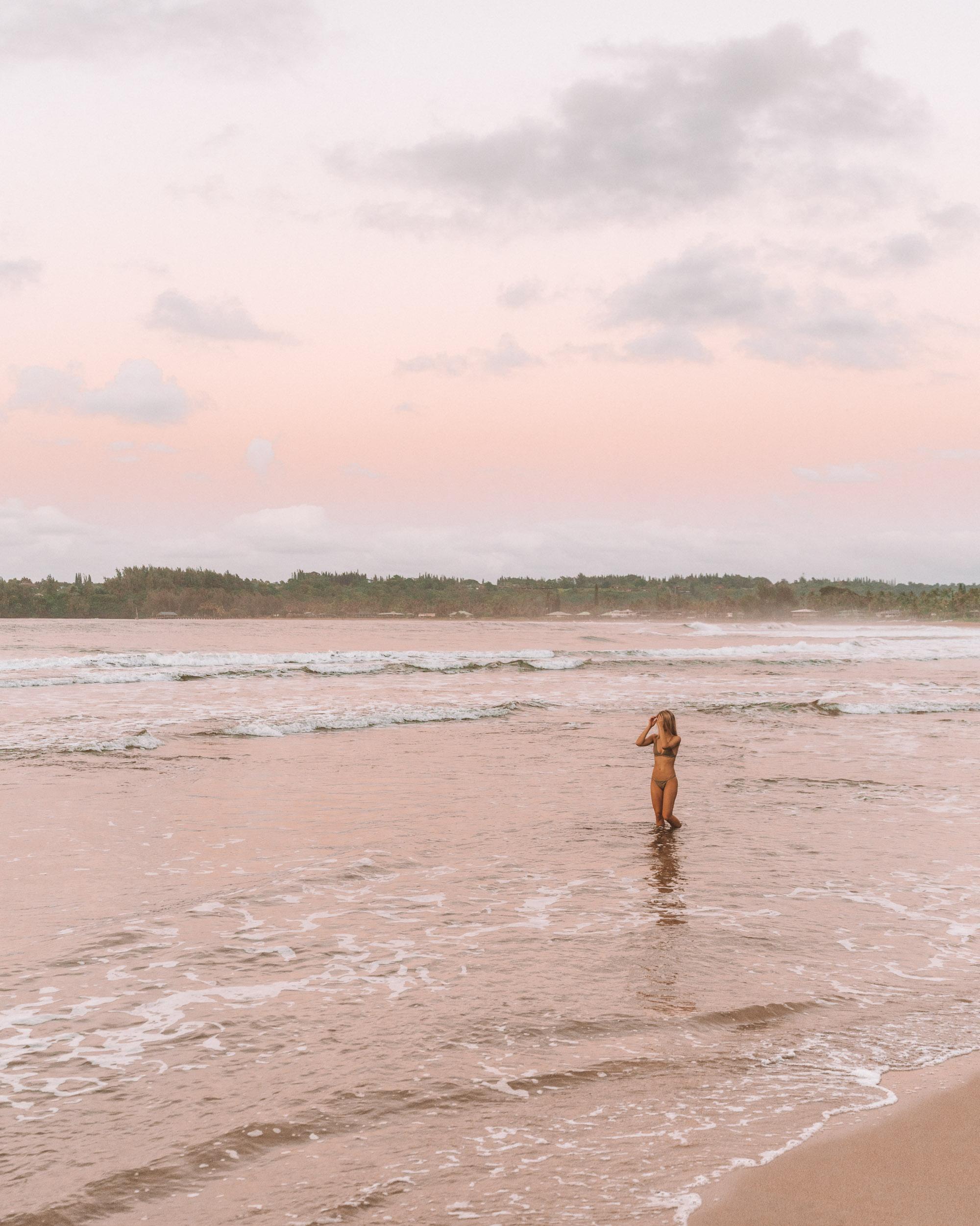 Hanalei Bay Beach at Sunset in Kauai via Find Us Lost