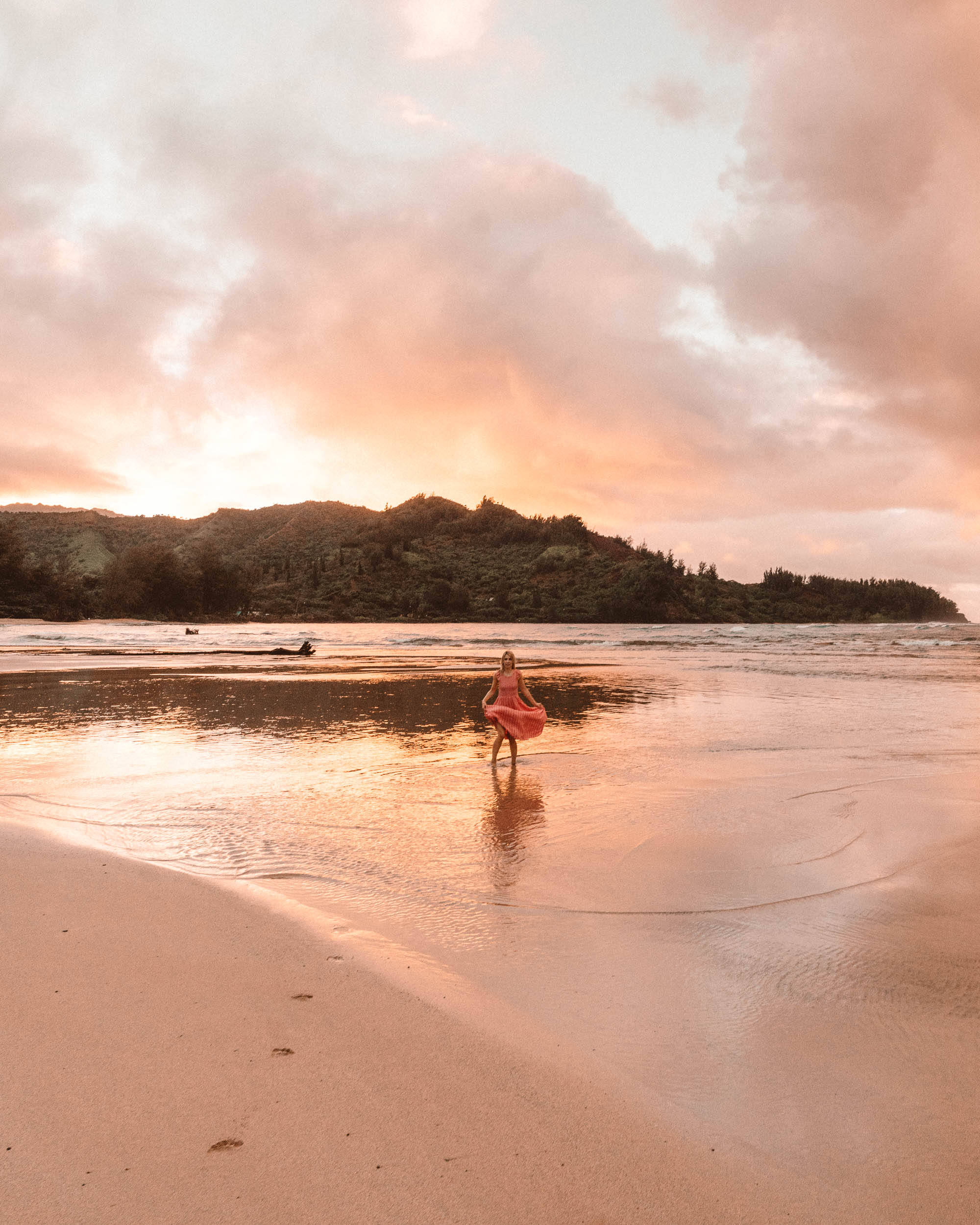 Hanalei Bay Beach at Sunset in Kauai via Find Us Lost