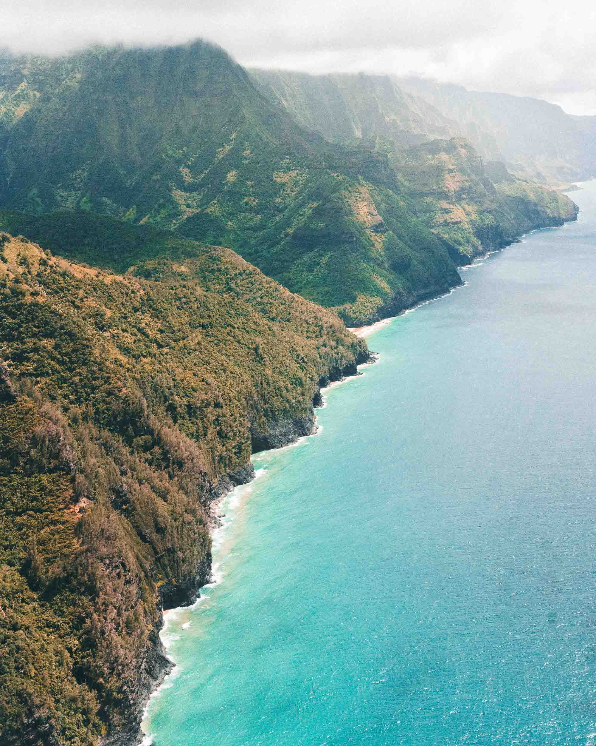 The Na Pali coast from a Helicopter Kauai Travel Guide via Find Us Lost