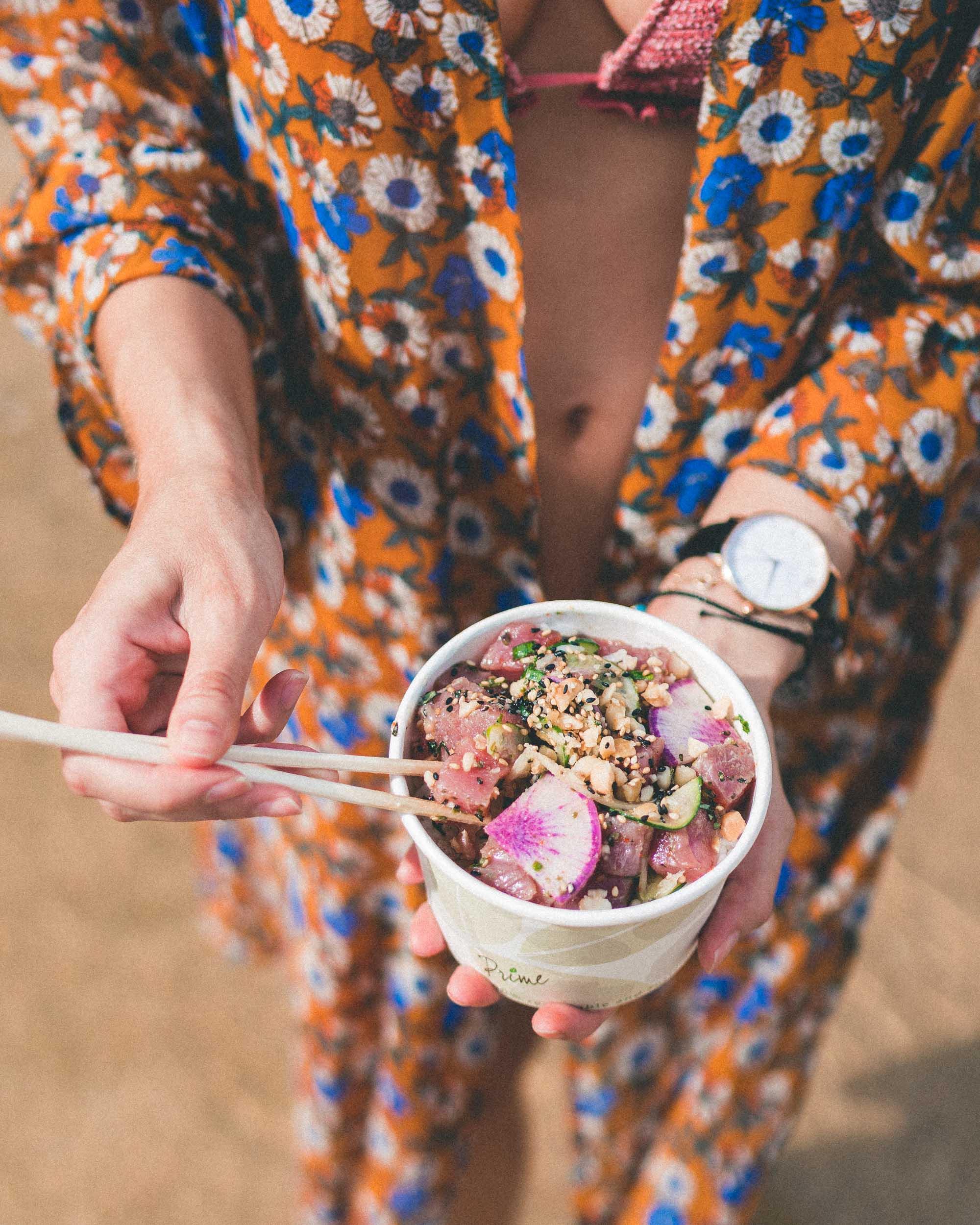 Poke Bowl from Sushi Girl Kauai Hawaii Travel Guide via Find Us Lost Selena Taylor Travel Blogger