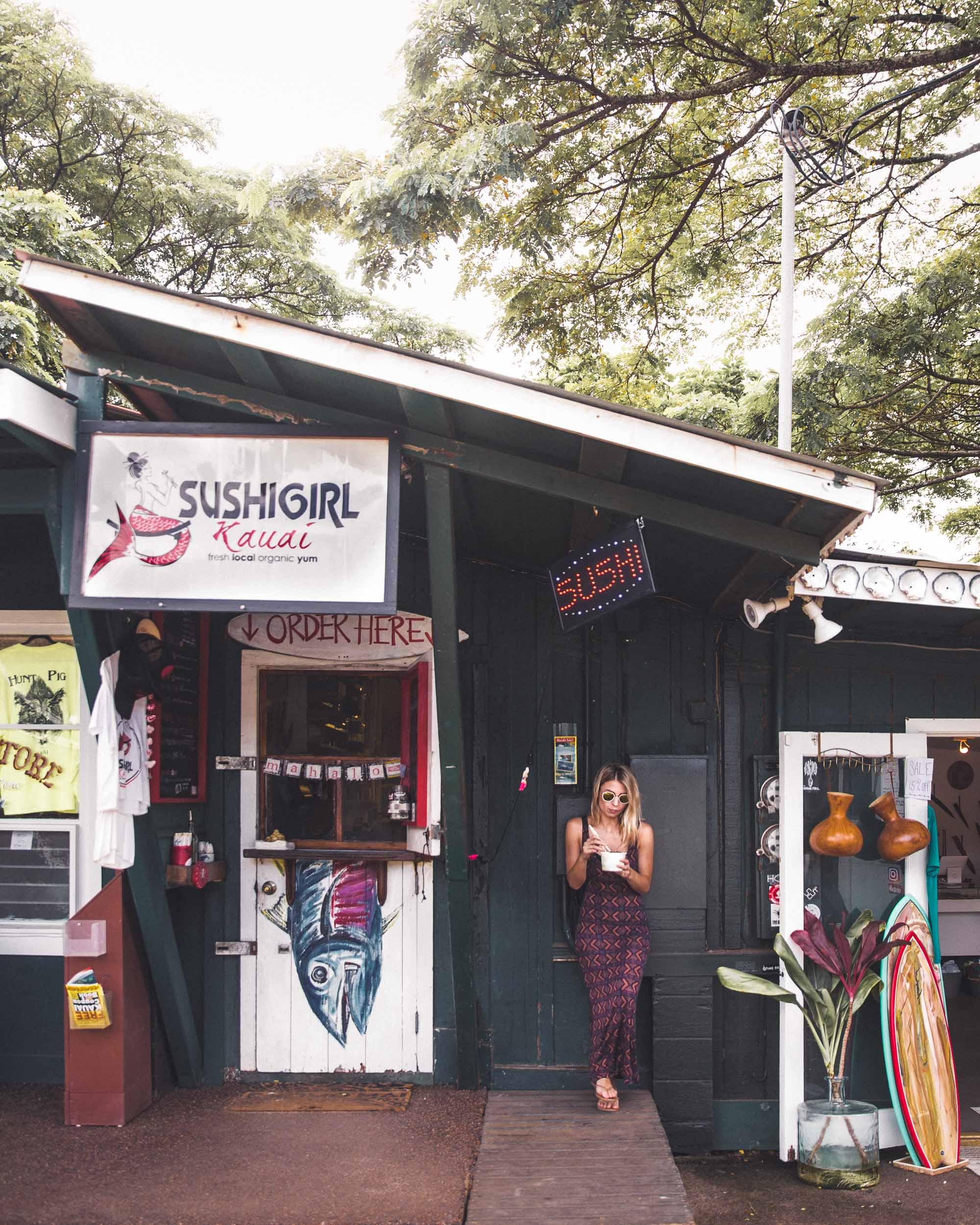 Best Poke Bowls at Sushi Girl Kauai Hawaii Travel Guide via Find Us Lost Selena Taylor Travel Blogger