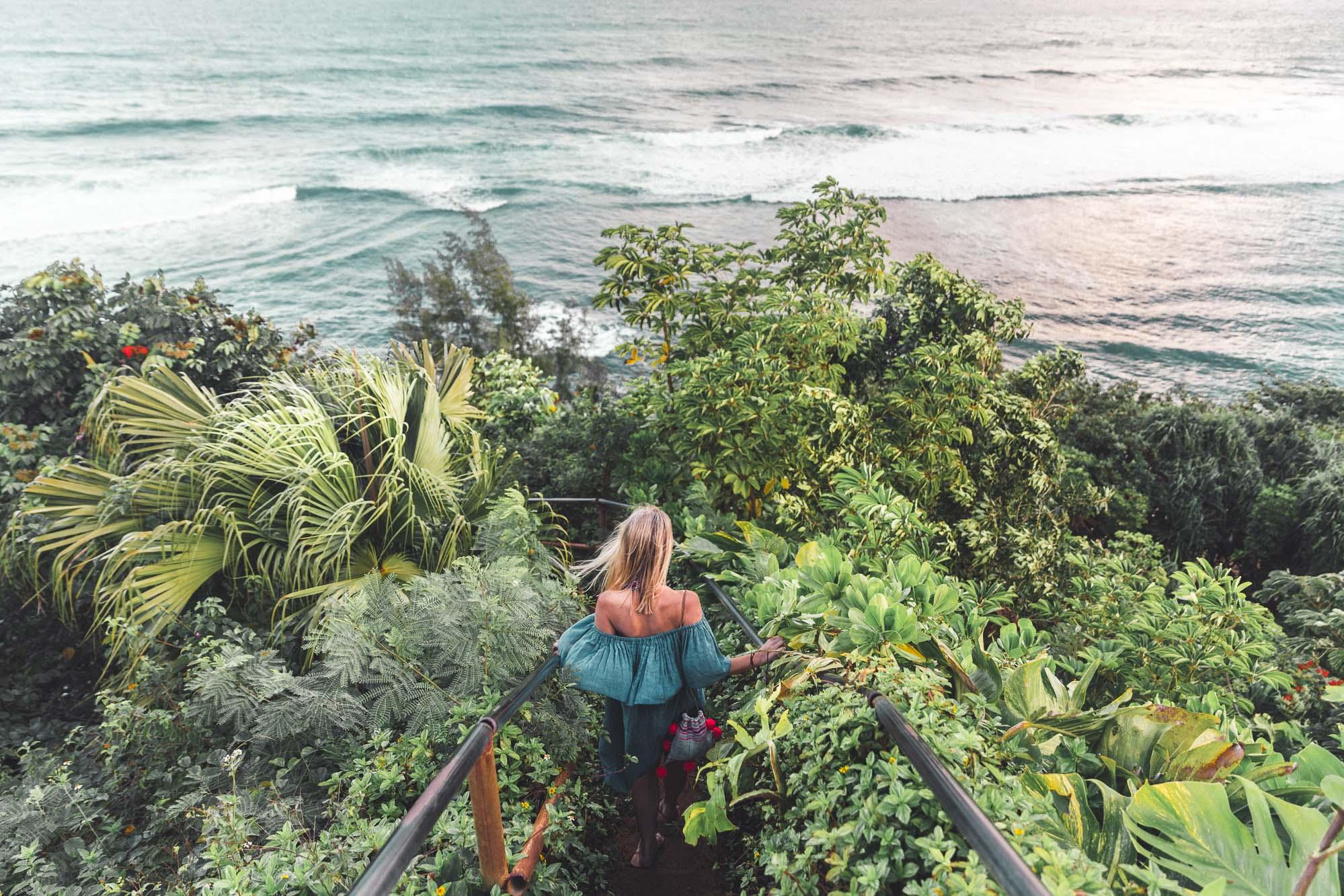 Hideaways Beach Path Over Ocean in Hanalei Hawaii Kauai Travel Guide via Find Us Lost