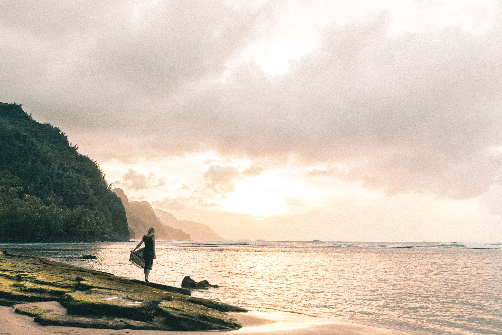 Ke'e Beach Sunset Along Na Pali Coast Kauai Travel Guide via Find Us Lost Travel Blogger Selena Taylor