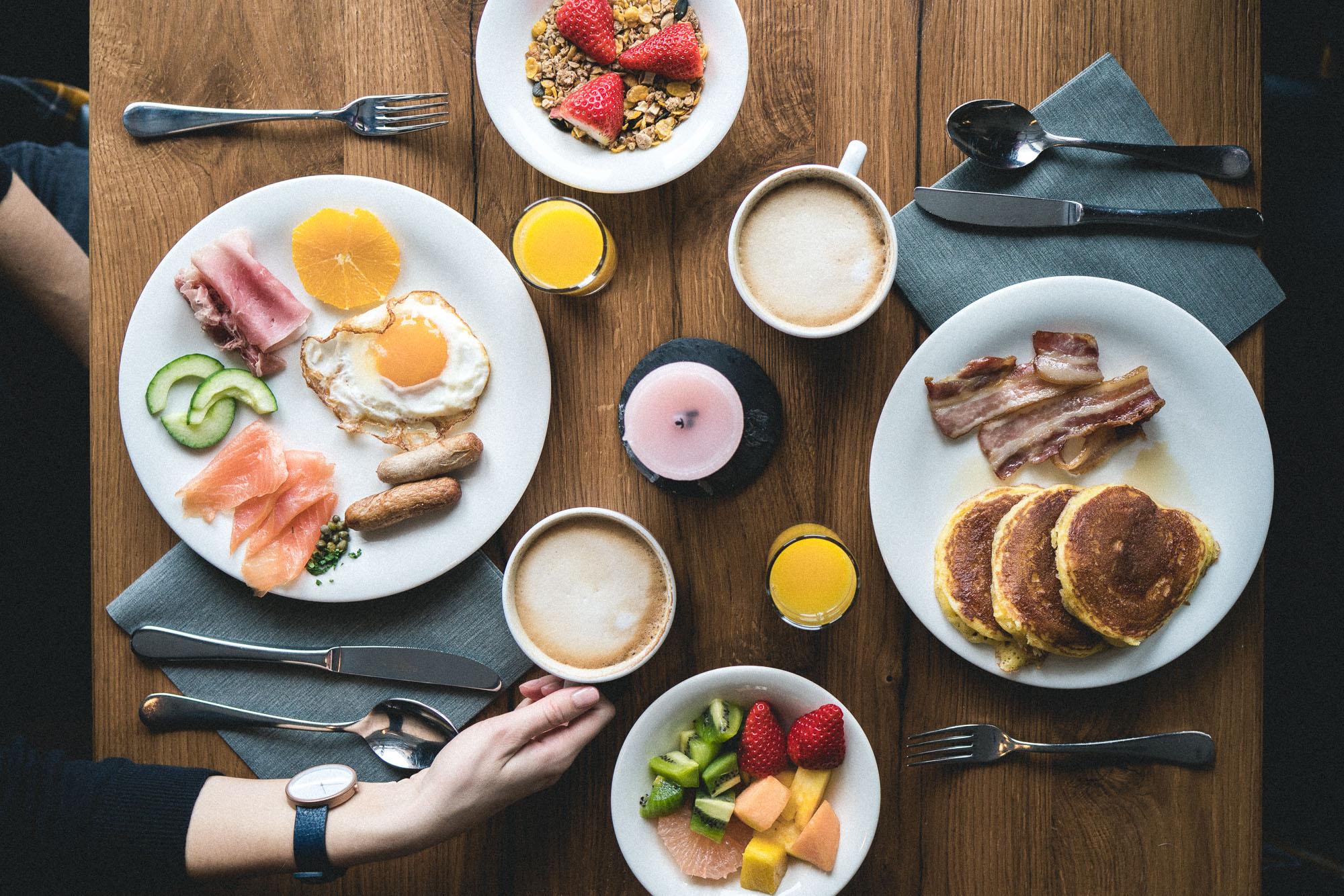 Breakfast Spread at Huus Gstaad Switzerland, A Swiss Hotel