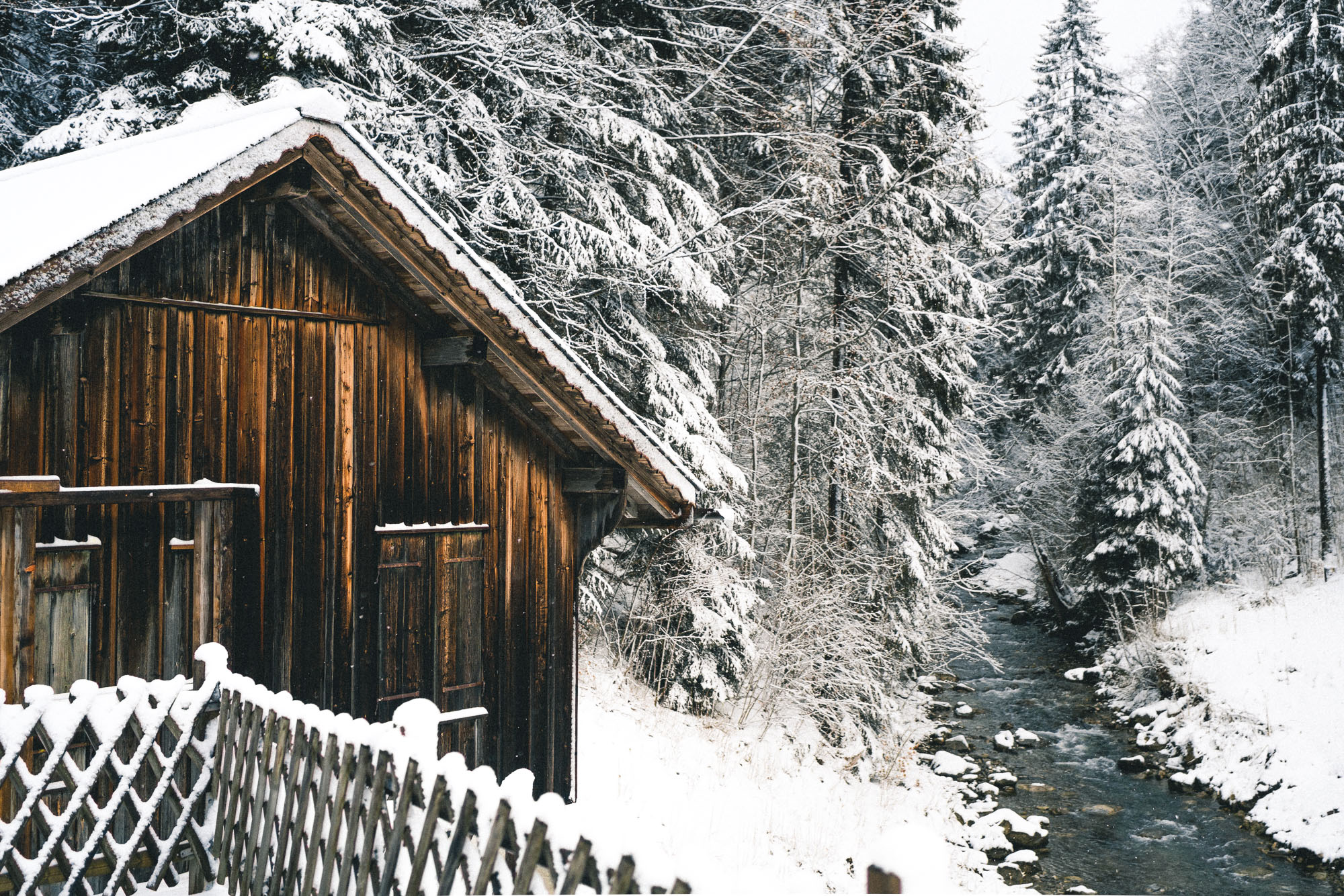 Snowy Cabin in Winter Wonderland Gstaad Switzerland Swiss Vacation