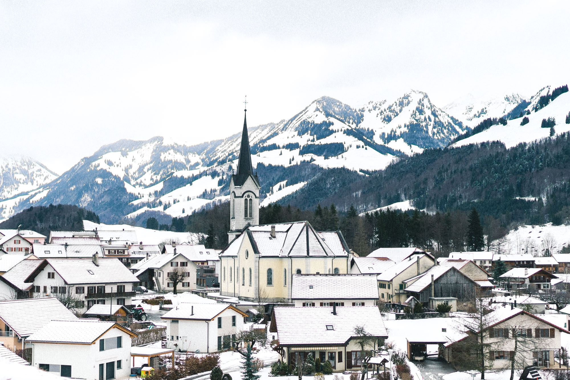 Downtown Gstaad, Switzerland, A Luxury Ski Town in Winter