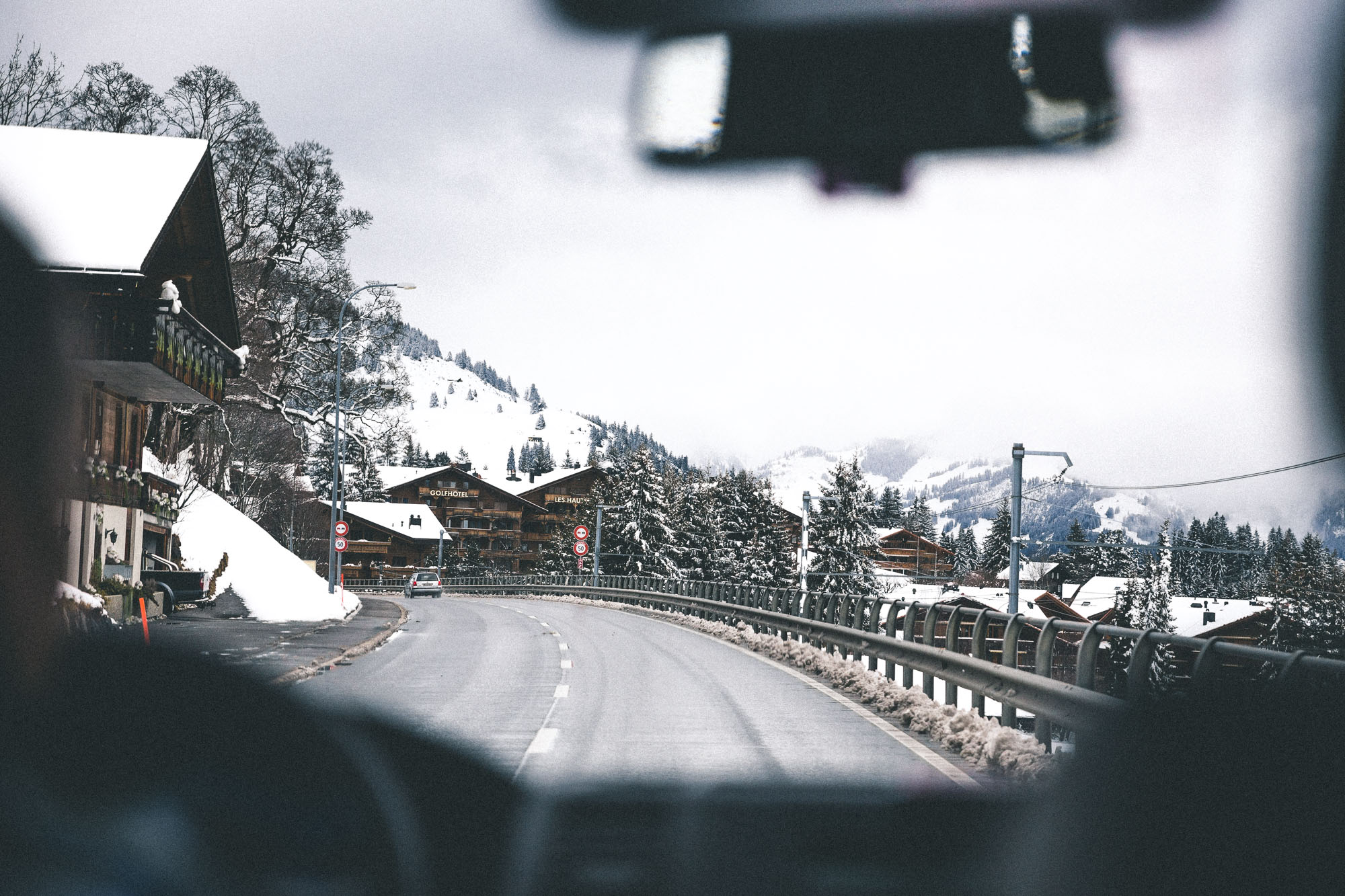 Driving in the snow in Gstaad, Switzerland